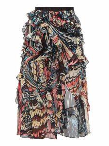 Mary Katrantzou - Abstract Print Front Slit Silk Georgette Skirt - Womens - Black Multi