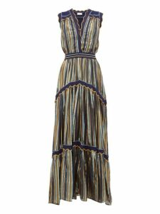 Peter Pilotto - Striped Tiered Tulle Dress - Womens - Blue Gold