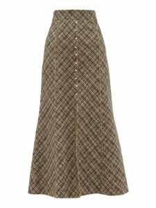 Peter Pilotto - High Rise Tweed Midi Skirt - Womens - Gold Multi