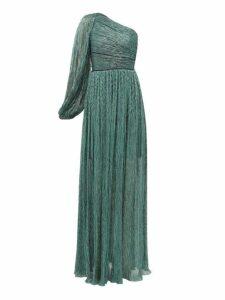 Peter Pilotto - One Shoulder Plissé Lamé Dress - Womens - Green