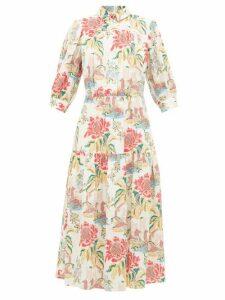 Peter Pilotto - Floral Print Poplin Shirtdress - Womens - White Multi