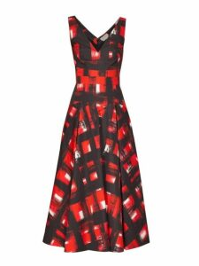 Alexander Mcqueen - Flared Abstract Print Cotton Poplin Midi Dress - Womens - Red Multi