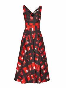Alexander Mcqueen - Flared Abstract Print Cotton Poplin Midi Dress - Womens - Red Multi