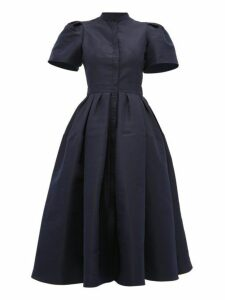 Alexander Mcqueen - Puffed Sleeve Silk Faille Dress - Womens - Navy