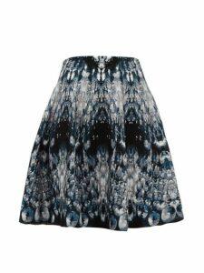 Alexander Mcqueen - Crystal Jacquard Mini Skirt - Womens - Blue Multi