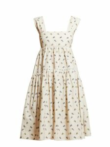 Cecilie Bahnsen - Rue Tiered Floral Print Cotton Poplin Dress - Womens - Ivory