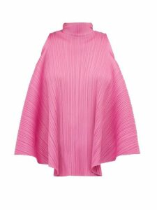 Pleats Please Issey Miyake - High Neck Ribbon Tie Top - Womens - Pink