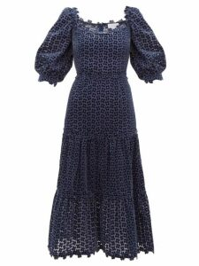 Luisa Beccaria - Embroidered Broderie Anglaise Velvet Dress - Womens - Navy