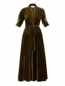 Luisa Beccaria - Plunge Neck Tie Waist Velvet Midi Dress - Womens - Dark Green