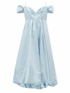 Simone Rocha - Ruffled Taffeta Midi Dress - Womens - Blue