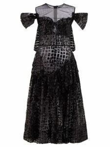 Simone Rocha - Ruffled Sequinned Midi Dress - Womens - Black