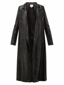 Galvan - Open Front Sequinned Coat - Womens - Black