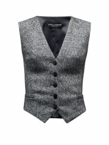 Dolce & Gabbana - Single Breasted Waistcoat - Womens - Grey Multi
