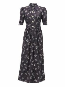 Alessandra Rich - Polka Dot And Bow Print Silk Dress - Womens - Navy Multi