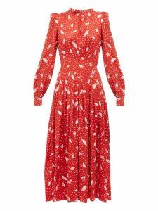 Alessandra Rich - Polka Dot Silk Dress - Womens - Red White