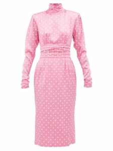 Alessandra Rich - Polka Dot Silk Midi Dress - Womens - Pink White