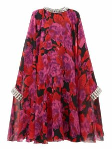 Richard Quinn - Crystal Embellished Floral Print Cape Dress - Womens - Pink Multi