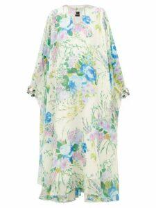 Richard Quinn - Crystal Embellished Floral Georgette Dress - Womens - Blue Multi