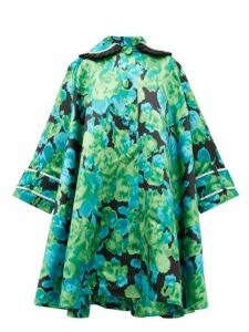 Richard Quinn - Crystal Embellished Floral Satin Opera Coat - Womens - Green Multi