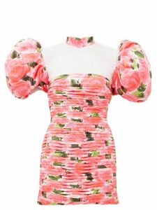 Richard Quinn - Puff Sleeve Rose Print Pleated Satin Dress - Womens - Pink