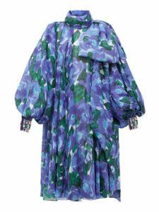 Richard Quinn - Balloon Sleeve Floral Print Georgette Dress - Womens - Blue Multi