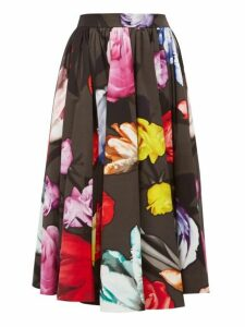 Prada - Floral Print Cotton Poplin Skirt - Womens - Grey Multi