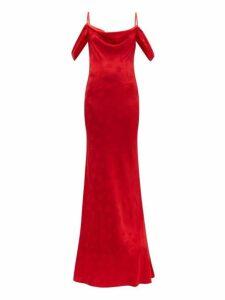 Rat & Boa - Florentina Cowl Neck Floral Jacquard Maxi Dress - Womens - Red