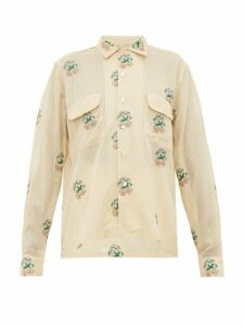 Bode - Floral Embroidered Cotton Blend Shirt - Womens - Ivory