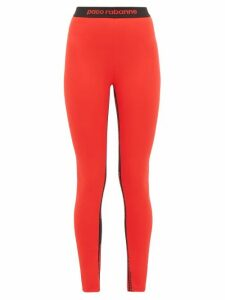 Paco Rabanne - Bodyline Logo Jacquard Technical Jersey Leggings - Womens - Red