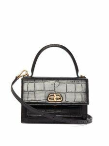 Balenciaga - Sharp Xs Crocodile Effect Leather Cross Body Bag - Womens - Black