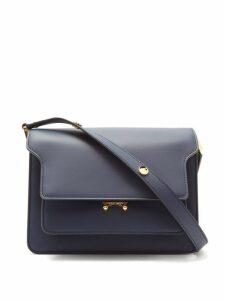 Marni - Trunk Medium Leather Shoulder Bag - Womens - Navy