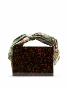 Montunas - Guaria Mini Orchid Print Silk Handle Box Bag - Womens - Brown Multi