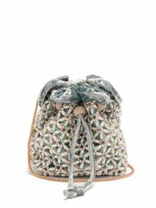 Sophia Webster - Emmie Beaded Velvet Bucket Bag - Womens - Blue Multi