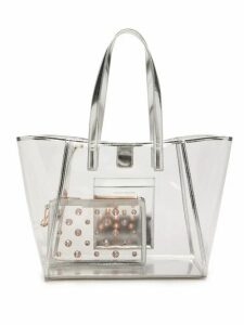 Sophia Webster - Dina Leather Trimmed Pvc Tote Bag - Womens - Silver