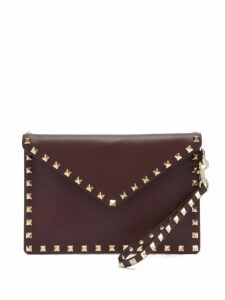 Valentino - Rockstud Embellished Leather Pouch - Womens - Burgundy