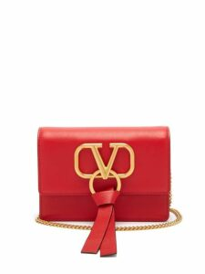 Valentino - V Ring Mini Leather Cross Body Bag - Womens - Red