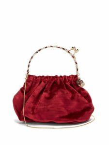 Rosantica By Michela Panero - Versailles Crystal And Velvet Clutch - Womens - Burgundy