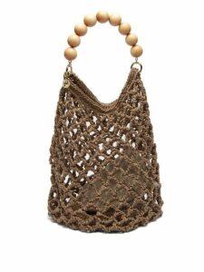 Rosantica By Michela Panero - Polaris Beaded Handle Woven Shoulder Bag - Womens - Beige