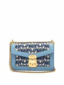 Miu Miu - Confidential Logo Jacquard Shoulder Bag - Womens - Blue White
