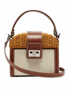 Rodo - Wicker & Leather Box Bag - Womens - Brown Multi