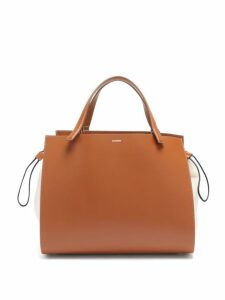 Jil Sander - Leather And Canvas Drawstring Handbag - Womens - Tan Multi