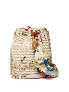 Christian Louboutin - Marie Jane Woven Jute Bucket Bag - Womens - Beige Multi