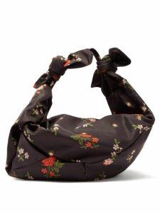 Simone Rocha - Wrap Large Floral Print Shoulder Bag - Womens - Black Multi
