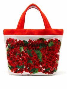 Dolce & Gabbana - Geranium Print Towelling Tote - Womens - Red Multi