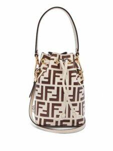 Fendi - Mon Tresor Mini Ff Embossed Leather Bucket Bag - Womens - Cream Multi