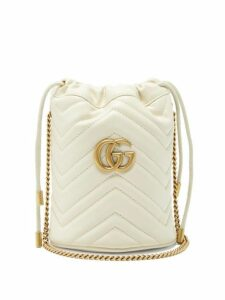 Gucci - Gg Marmont Leather Bucket Bag - Womens - White