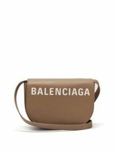 Balenciaga - Ville Logo Leather Cross Body Bag - Womens - Mid Beige