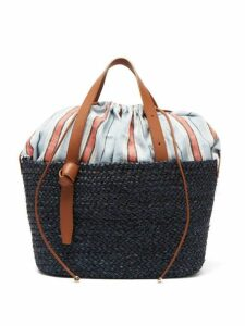 Cesta Collective - Woven Sisal, Leather And Cotton Basket Bag - Womens - Navy Multi