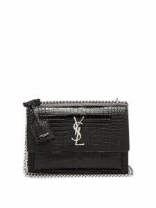 Saint Laurent - Sunset Medium Croc Effect Leather Cross Body Bag - Womens - Black
