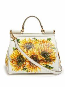 Dolce & Gabbana - Sicily Mini Sunflower Print Dauphine Leather Bag - Womens - White Multi